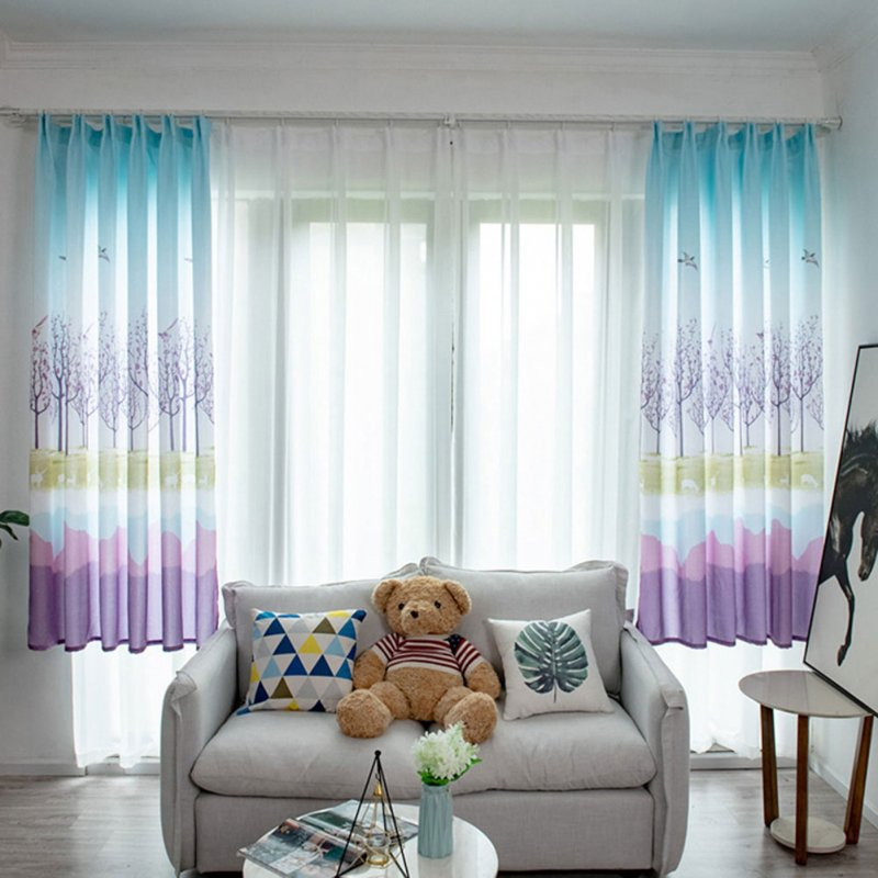 Bird Tree Pattern Window Curtain Half Shading Drapes for Living Room Bedroom Balcony purple_1 * 2m high hook