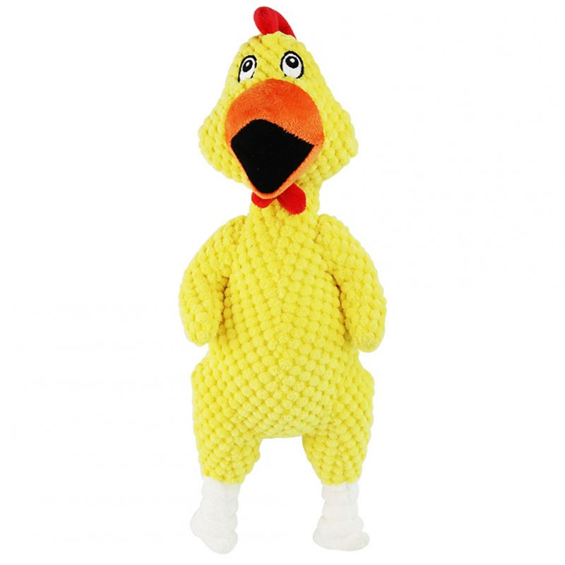 Bite-resistant Pet Squeaky Chew Toy Plush Funny Screaming Chicken Toy for Dogs yellow