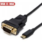 Black 2M Type-C to VGA Male Cable Adapter High Definition Converter Double head gold-plated