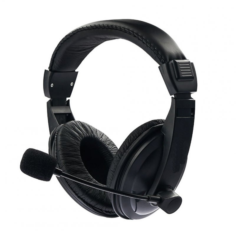 Black Adjustable Headset Music Gaming Microphone Headphone Plug and Play with 3.5mm for PC Laptop Computer black
