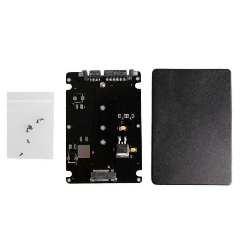 Black Case B + M Female 2 M.2 NGFF (SATA) SSD to 2.5 SATA Adapter for 2230/2242/2260 / 2280mm m2 SSD black
