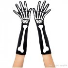 Black Halloween Costume Props 3D Skeleton Pattern Printing Socks Gloves Bone pattern gloves