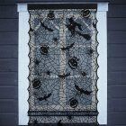 Black Lace Pumpkin Head Skull Witch Pattern Window Curtain for Halloween Decoration Pole Style black_42x84inches