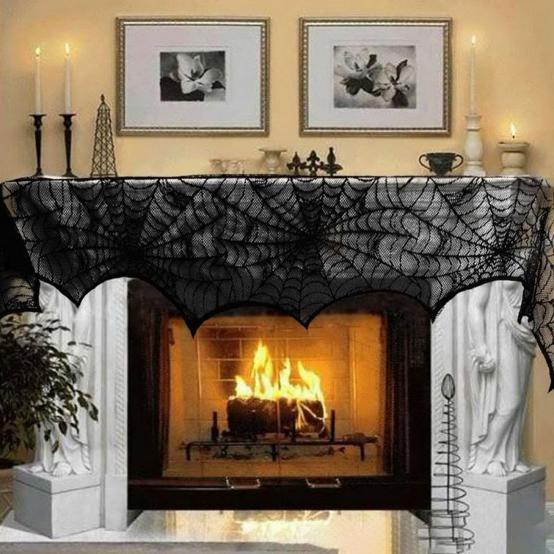 Black Lace Spider Web Fireplace Mantle Cover for Home Halloween Party Decor 18x96 inches 45x244cm