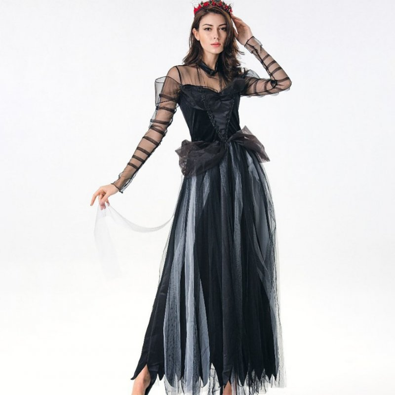 Black Sexy Lace Vampire Witch Costume for Halloween Horror Ghost Bride Cosplay Fantasy Dress 1021_One size