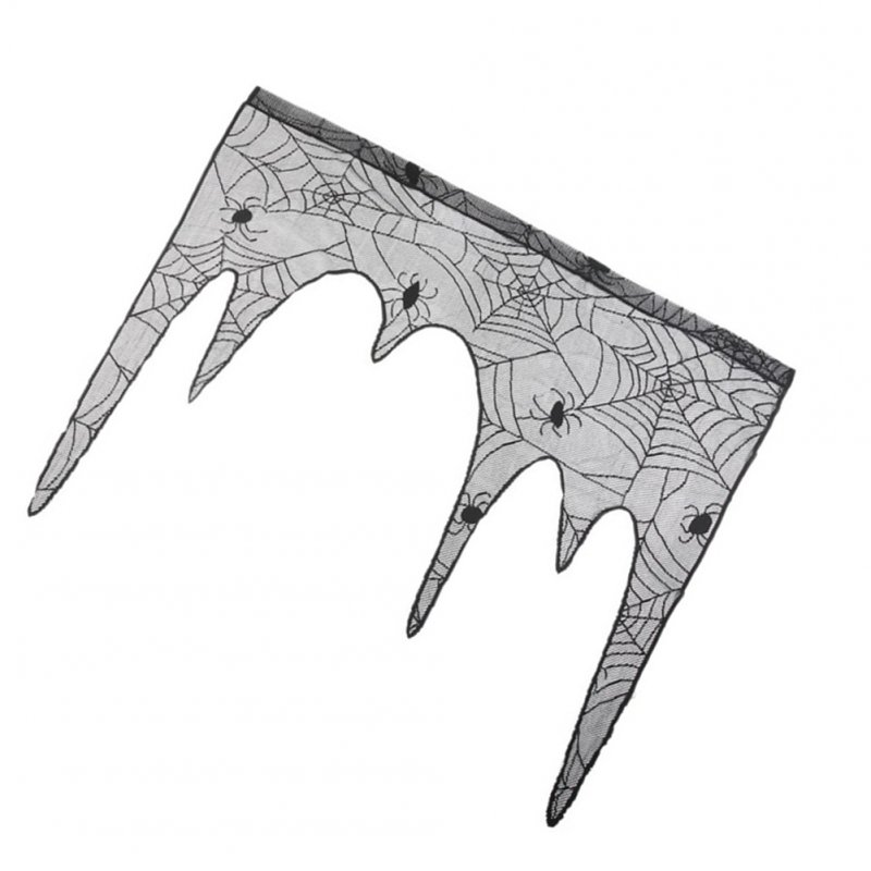 Black Spider Web Lace Fireplace Stove Cloth Cover for Halloween Ghost Festival Party 105x107cm black_105x107