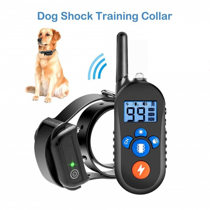 Black Waterproof Electric Shock Vibration Warning Pet Necklace with 800M RC Distance A drag_European regulations