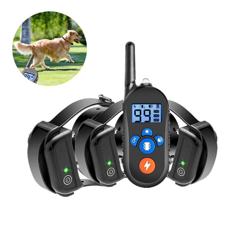 Black Waterproof Electric Shock Vibration Warning Pet Necklace with 800M RC Distance A drag_Australian regulations