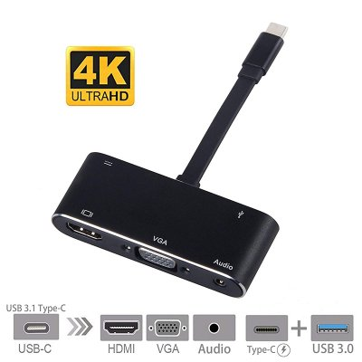 USB C to HDMI Adapter 4K 5 in 1 Type-C to HDM