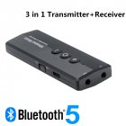 Bluetooth 5.0 Adapter Audio Stereo 3.5mm Auxiliary Jack Wireless 3 in 1 Receiver with Control Button black