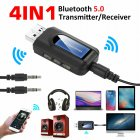 Bluetooth 5.0 Adapter USB Transmitter and Receiver with LCD Screen black