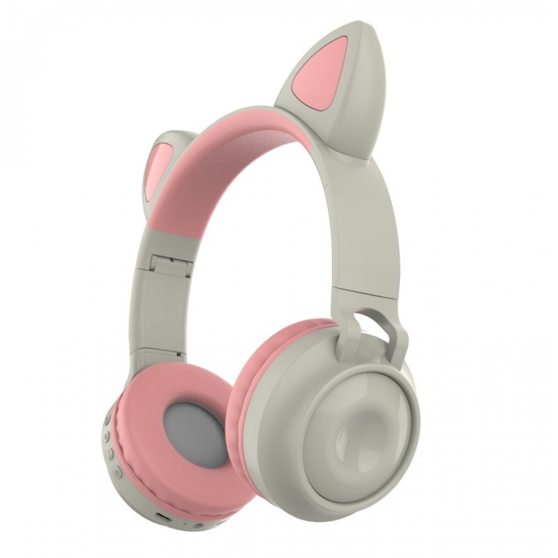 Bluetooth 5.0 Ear Headphones Foldable Stereo Wireless Set Mic LED Light Volume Control Support For Kids pink