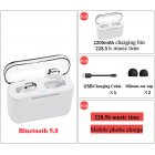 Bluetooth Earphone Sports Wireless Mini HiFi Handsfree Headphone Stereo Sound Earbuds Gaming Headset with Charging Box white