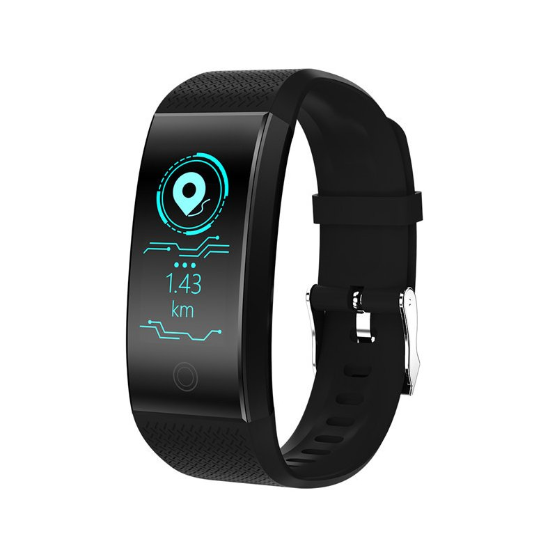 Bluetooth Heart Rate Blood Pressure Sensor Bracelet Life Waterproof Health Sleep Fitness Tracker Smart Watch black