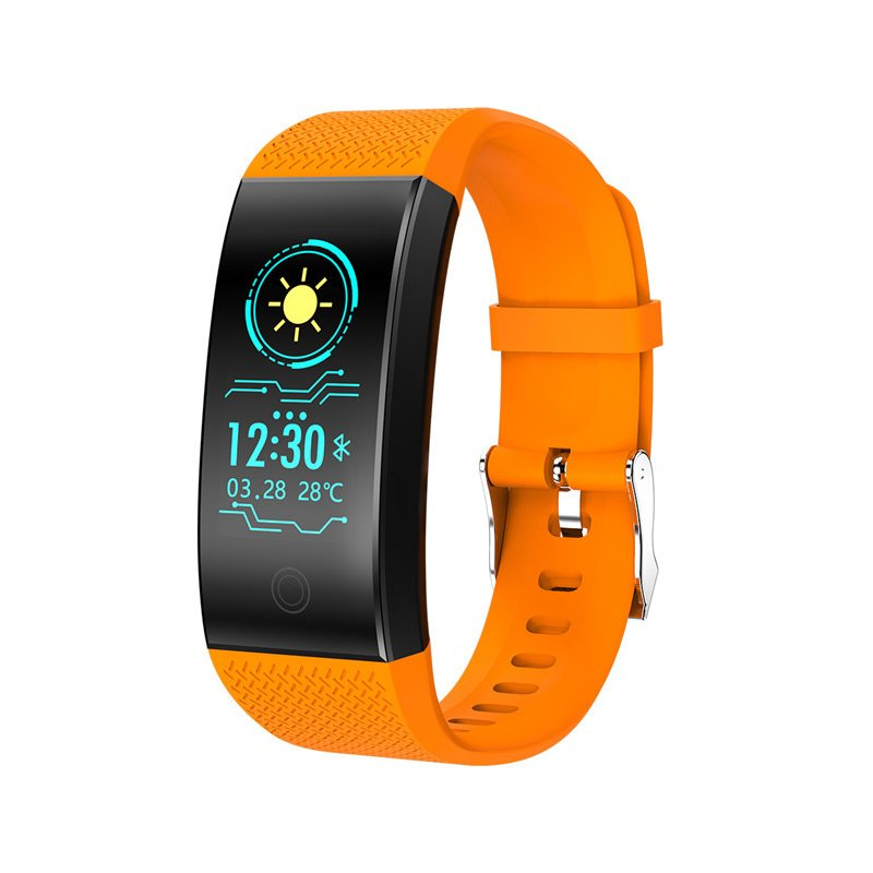 Bluetooth Heart Rate Blood Pressure Sensor Bracelet Life Waterproof Health Sleep Fitness Tracker Smart Watch Orange