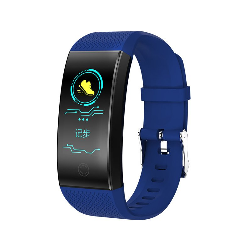 Bluetooth Heart Rate Blood Pressure Sensor Bracelet Life Waterproof Health Sleep Fitness Tracker Smart Watch blue