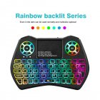 Bluetooth Keyboard Backlit Wireless RGB Air Mouse with Touchpad Remote Control for Android TV Box PC black
