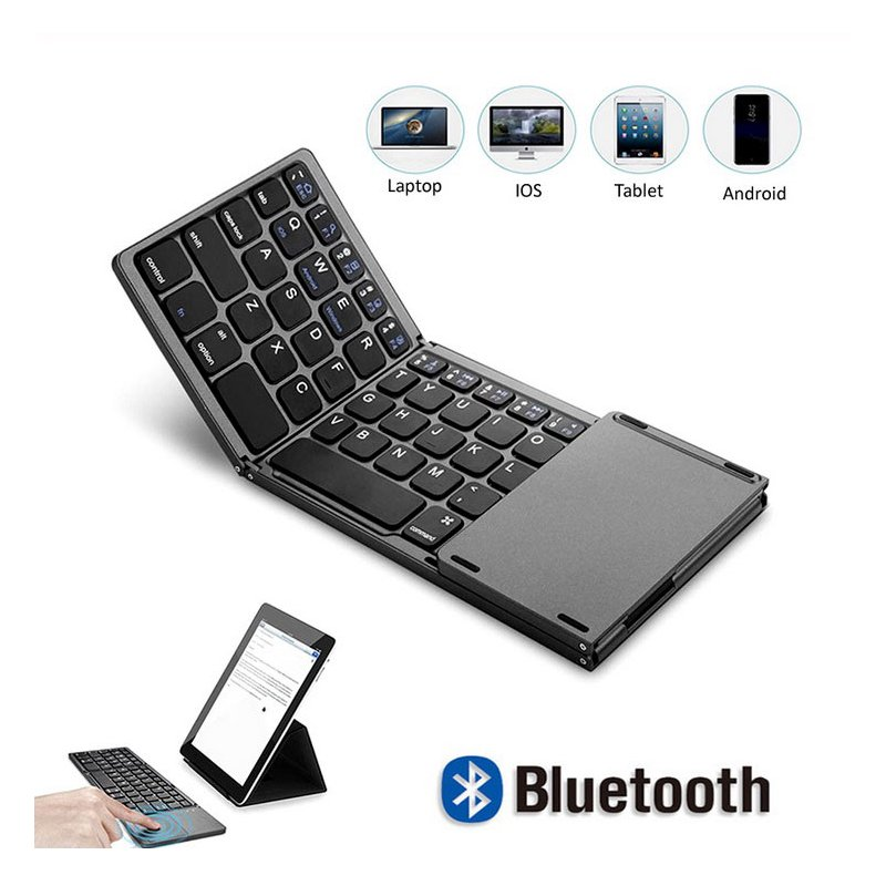 Wholesale Bluetooth Keyboard Wireless Three Folding Mini Keyboard With Touchpad For Tablet Phone Computer Black From China