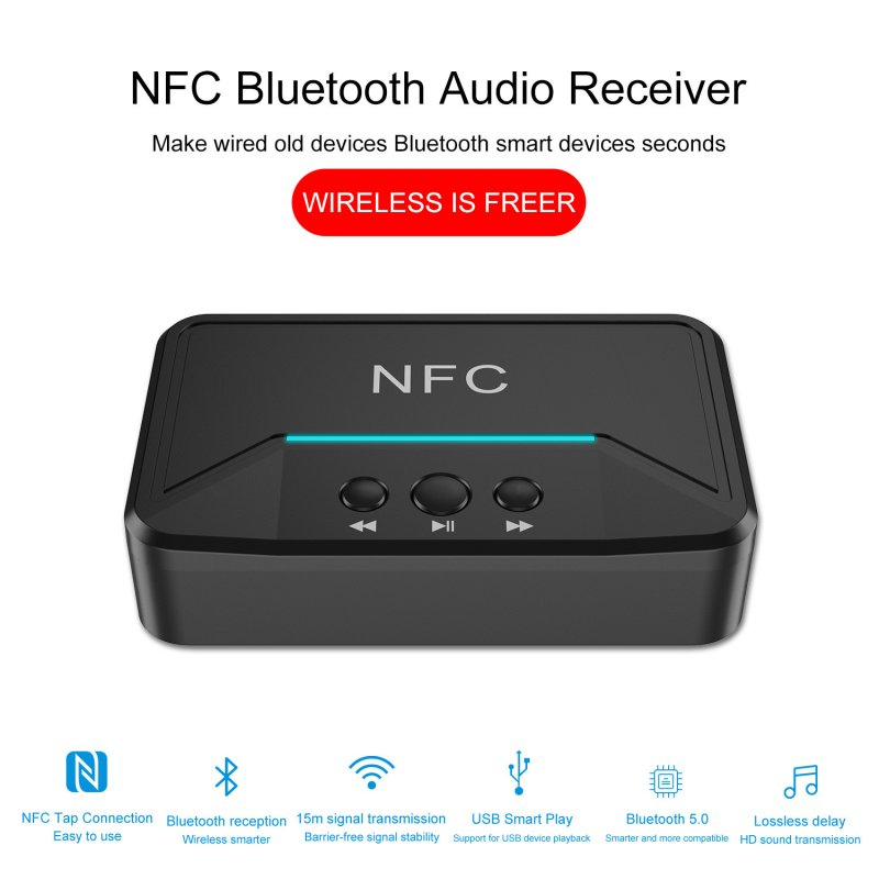 Bluetooth Receiver HiFi Wireless Audio Adapter with DC USB 3.5mm AUX 2 RCA Low Latency for Phone/Home Music System black