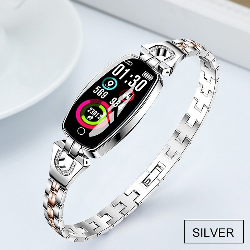 Bluetooth Smart Bracelet Step Counter Calorie Remote Information Reminder Continuous Heart Rate Monitoring Bracelet Silver