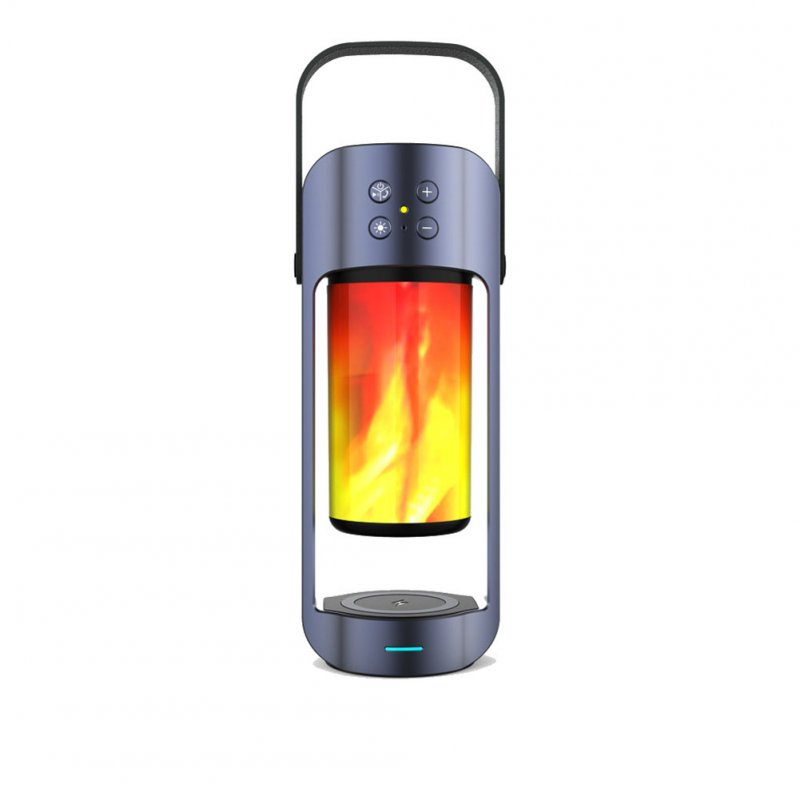 Bluetooth Speaker Flame Light Wireless Charger Outdoor Emergency Light with Power Bank Function gray