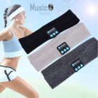 Bluetooth Sports Outdoor Fitness Yoga Hair Band Headbands Call Music Sweat absorbent Headscarf black