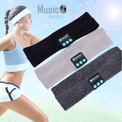 Bluetooth Sports Outdoor Fitness Yoga Hair Band Headbands Call Music Sweat-absorbent Headscarf black