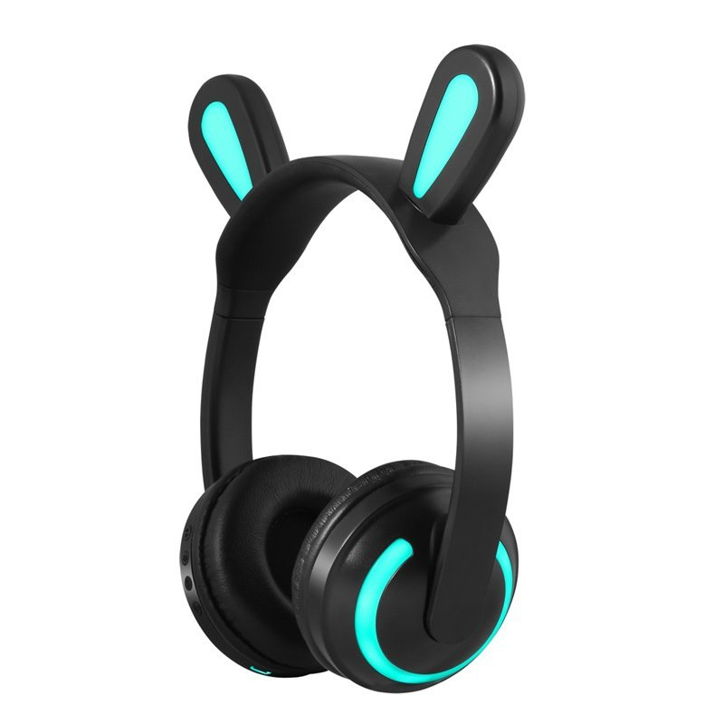 Bluetooth Stereo Cat Ear Headphones Flashing Glowing Cat Ear Headphones Gaming Headset Earphone with 7 Colors LED Light Rabbit ears