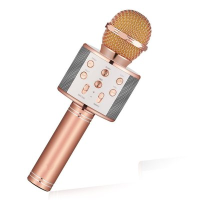 Bluetooth Wireless Condenser Magic Karaoke Microphone Mobile Phone Player MIC Speaker Record Music Rose gold_Ws858