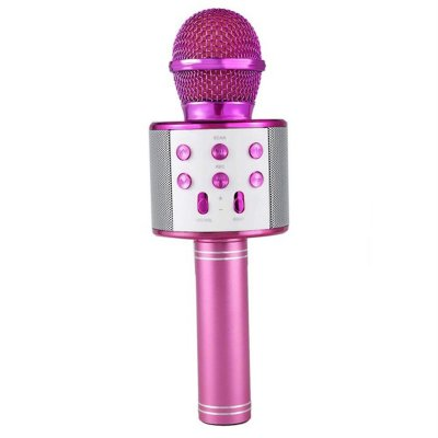 Bluetooth Wireless Microphone Handheld Karaoke Mic USB KTV Player Bluetooth Speaker Record Music Microphones  Pink
