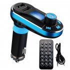 Bluetooth mp3 Car FM Transmitter MP3 Player Radio Adapter Kit USB Charger 2 Outlets blue