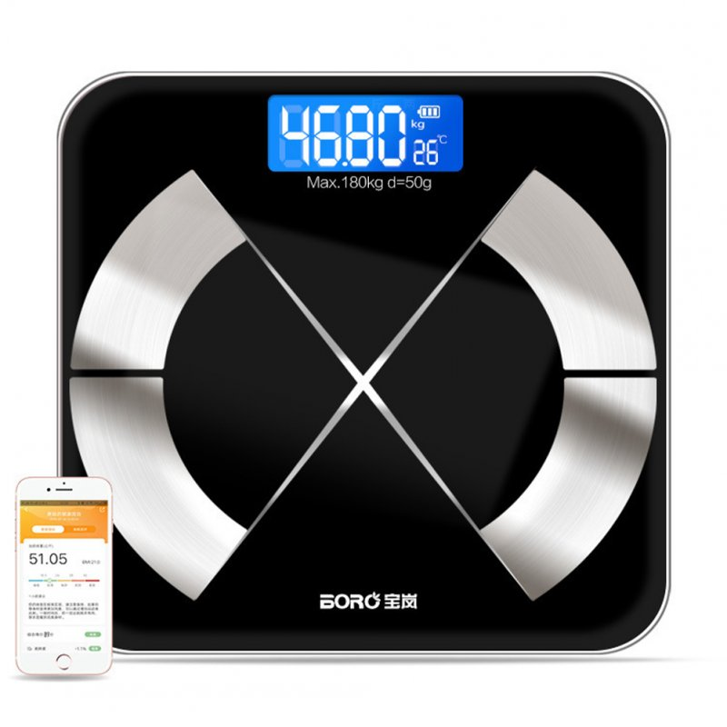 Body Weight Scale Bluetooth Smart Electronic LED Digital Floor Body Fat Weight Scale black_Charging section
