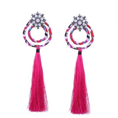 Bohemia Tassel Drop Earrings Cotton Thread Circle Crystal Rhinestone Dangle Earrings Women Ethnic Jewelry