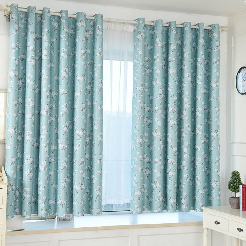 Bombax Flower Printing Curtains for Bedroom Living Room Balcony Window Shading blue_1m wide x 2m high punch
