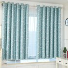 Bombax Flower Printing Curtains for Bedroom Living Room Balcony Window Shading blue_1.5m wide x 2m high punch