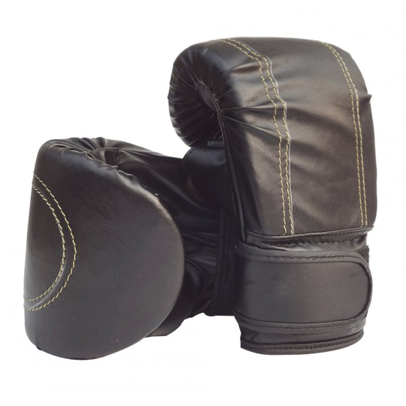 Boxing Gloves Children Boxing Gloves Professional Breathable PU Leather Boxing Training Glove black_Universal