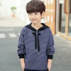 Boy Children Fashion Stripe Hooded Long Sleeve Soft Cotton Pullover Tops Striped hoodie navy_160cm