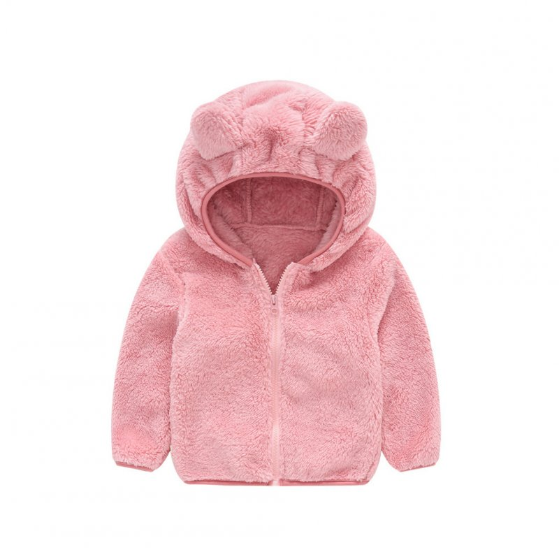 Boy Girl Baby Hooded Jacket Thick Long Sleeve Solid Color Cute Bear Ears Coat Pink_100cm