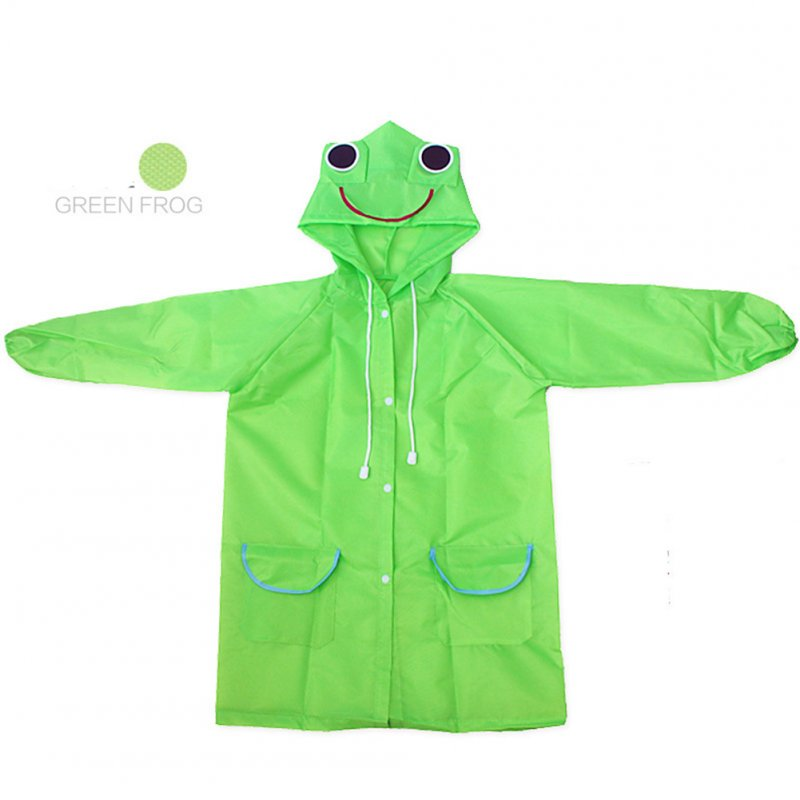 Boy Girl Cute Cartoon Ponchos Vivid Color Raincoat green