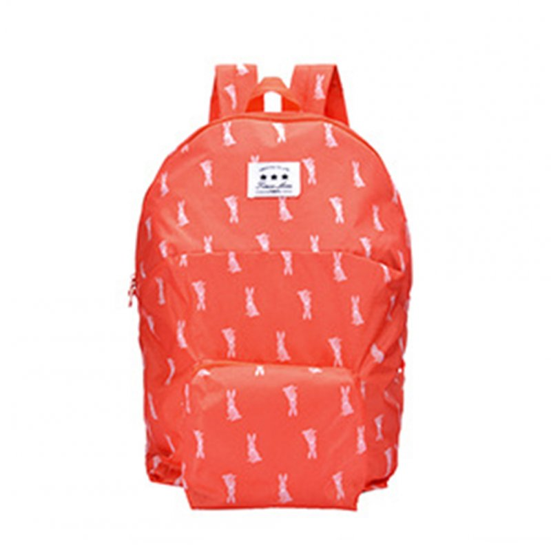Boy Girl Folding Schoolbag Backpack Cartoon Animal Candy Color Lightweight Double Shoulder Bag Watermelon red rabbit