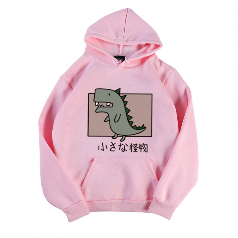 Boy Girl Hoodie Sweatshirt Cartoon Dinosaur Printing Spring Autumn Student Loose Pullover Tops Pink_L