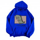 Boy Girl Hoodie Sweatshirt Cartoon Dinosaur Printing Loose Spring Autumn Student Pullover Tops Blue_L