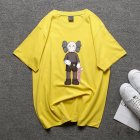 Boy Girl KAWS Couple T-shirt Cartoon Doll Crew Neck Short Sleeve Loose Student Pullover Tops Yellow_L