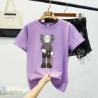 Boy Girl KAWS Couple T-shirt Cartoon Doll Crew Neck Short Sleeve Loose Student Pullover Tops Violet_L