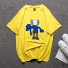 Boy Girl KAWS T-shirt Cartoon Holding Doll Crew Neck Couple Student Loose Pullover Tops Yellow_M