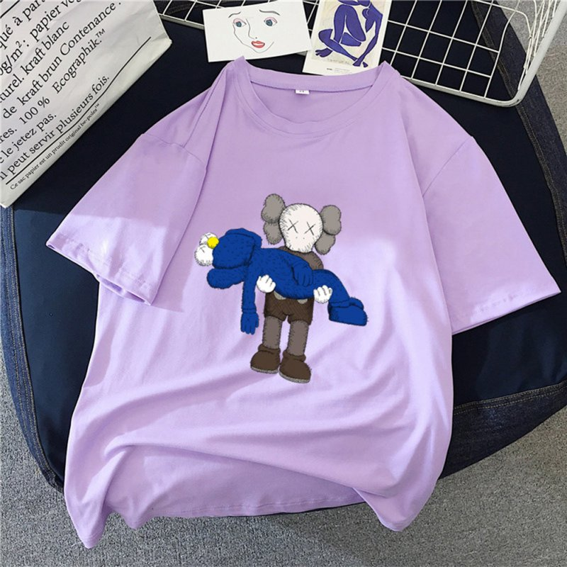 Boy Girl KAWS T-shirt Cartoon Holding Doll Crew Neck Couple Student Loose Pullover Tops Violet_S