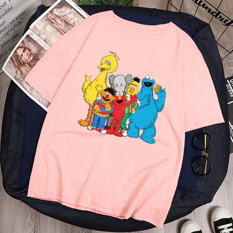 Boy Girl KAWS T-shirt Cartoon Animals Crew Neck Loose Couple Student Pullover Tops Pink_M