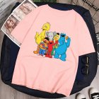 Boy Girl KAWS T-shirt Cartoon Animals Crew Neck Loose Couple Student Pullover Tops Pink_XL