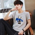 Boy Girl KAWS T-shirt Cartoon Holding Doll Crew Neck Couple Student Loose Pullover Tops Grey_L