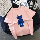 Boy Girl KAWS T-shirt Cartoon Sitting Doll Crew Neck Loose Couple Student Pullover Tops Pink_L